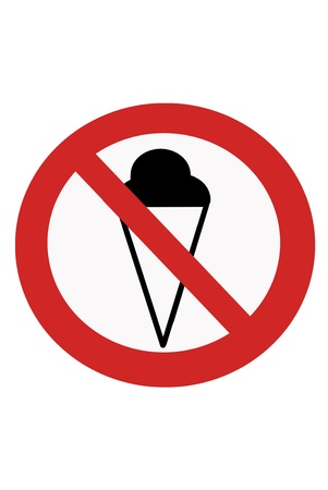 interdict: Red painted signs entry ban ice cream.
