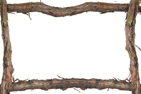 a cudgel: Wooden frame plant a vineyard on a white background.