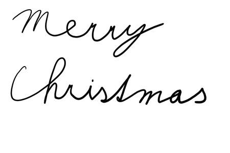 Black pen writing Merry Christmas written on a white background. photo
