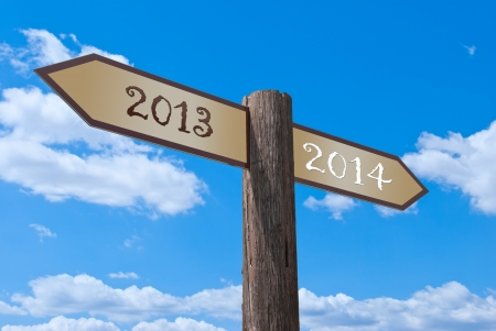 signpost, which divides the old and the new year. photo