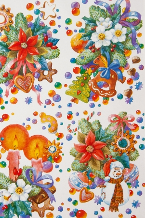 Painted Christmas motifs on a white background. photo