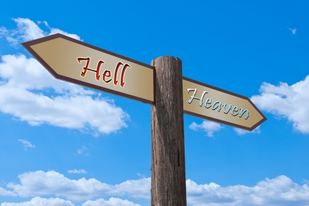 Signpost, which divides the hell and heavens. photo