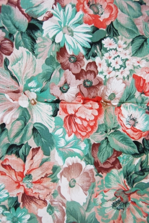 Fabric with colorful flowers, taken as a background. photo