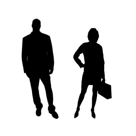 The man and woman in silhouette an white background. photo