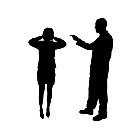 hassle: The man and woman in silhouette an white background.