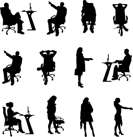 black office silhouette photographed on white background Vector