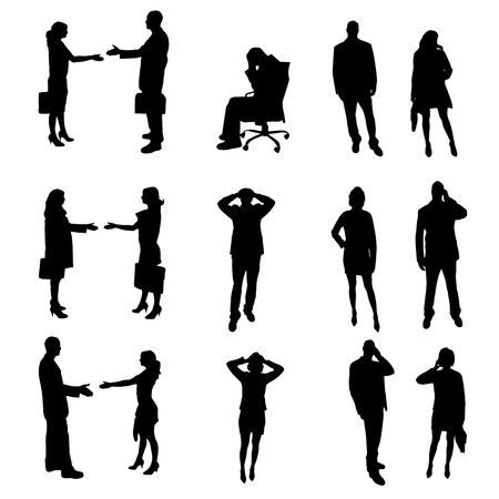smart phone woman: black office silhouette photographed on white background Illustration