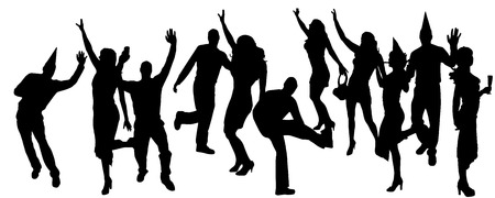 party people black silhouette on white background Vector