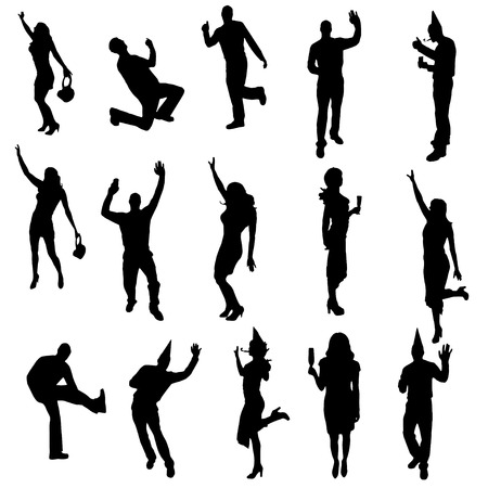 party people black silhouette on white background