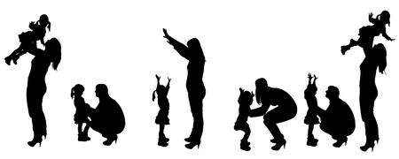Vector black silhouette of family on white background Vector