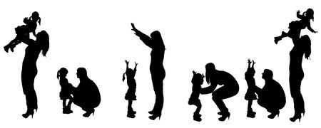 black family: Vector black silhouette of family on white background