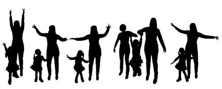 negro silueta de la familia en el fondo blanco