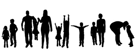 black family: black silhouette of family on white background Illustration