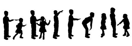 misbehaving: black silhouette of family on white background Illustration