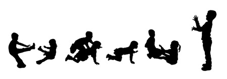black silhouette of family on white background Vector