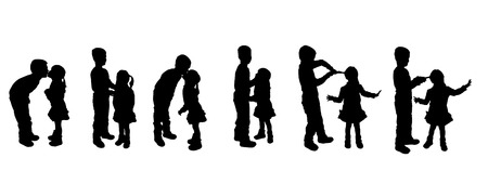 black family: black silhouette of family on white background Illustration