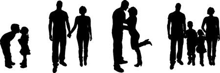 zwart silhouet van de familie op een witte achtergrond
