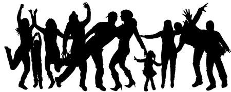 vuxen: Vektor silhuetten av vuxna och barn som dansar. Illustration