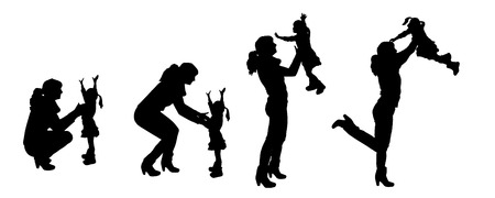 mom daughter: vector silhouettes of father and mother with children.