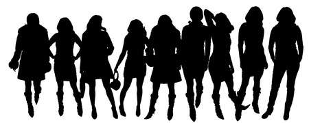 sexy woman standing: Vector silhouettes of women in various poses. Illustration