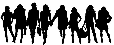 Vector silhouettes a women who meets a merchant.