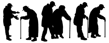 Vector silhouettes old people with auxiliary poles.