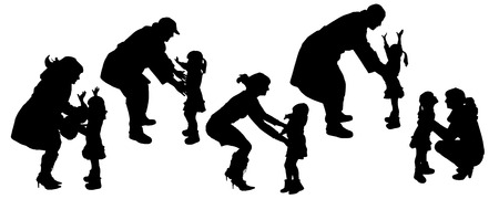 vector silhouettes of father and mother with children. Vector