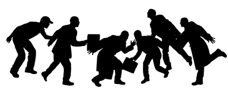fleeing: Vector silhouettes of people who are fleeing somewhere. Illustration