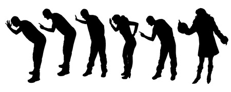 slap: vector silhouettes with people who show warning symbols fingers. Illustration