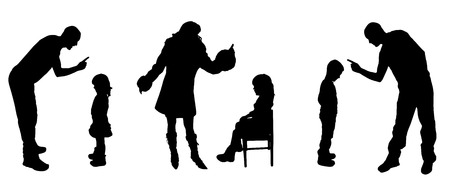 slap: vector silhouettes of father and mother with children.