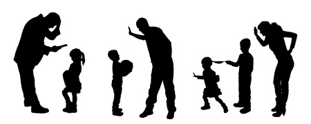 child abuse: vector silhouettes of father and mother with children.