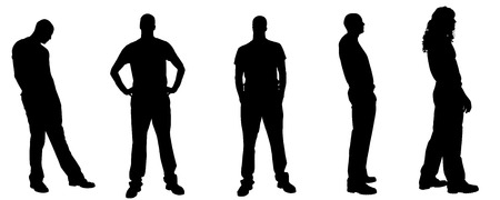 sexy male model: Vector silhouette of a man on a white background.  Illustration