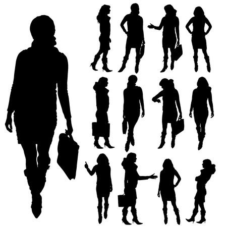 smart woman: Vector silhouette of businesswoman on a white background.