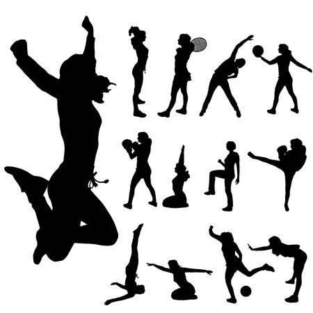 """pilates ball"": Vector silhouette of a woman with various sporting activities. Illustration"