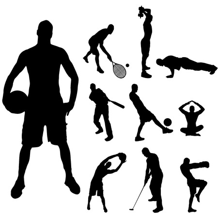 Vector silhouette of a man with various sporting activities. Illustration