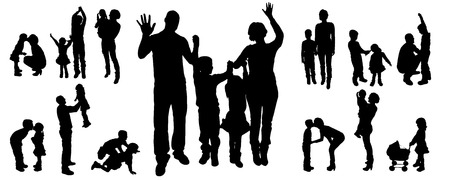 Vector silhouettes of families in different situations. Vector