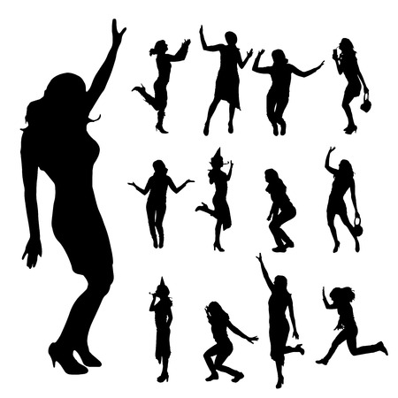 woman jump: Vector silhouette of a woman who dances on a white background. Illustration