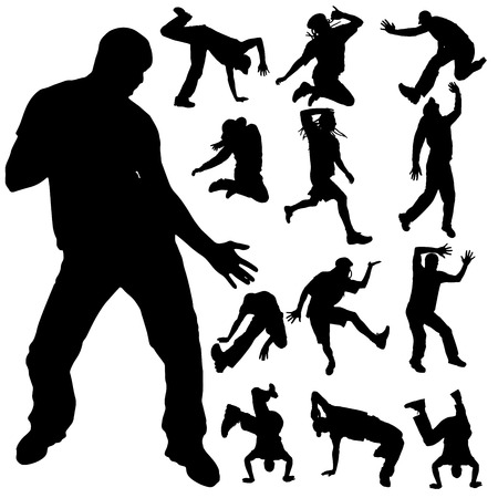 madman: Vector silhouette of a man who dances on a white background. Illustration