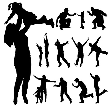Vector silhouette of family members who dance. Vector