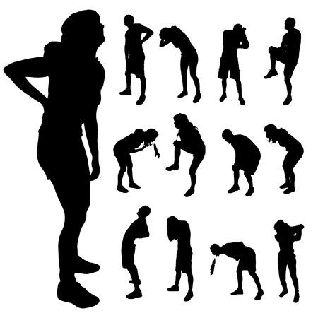 de rodillas: Vector silueta de las personas con diferente dolor. Vectores