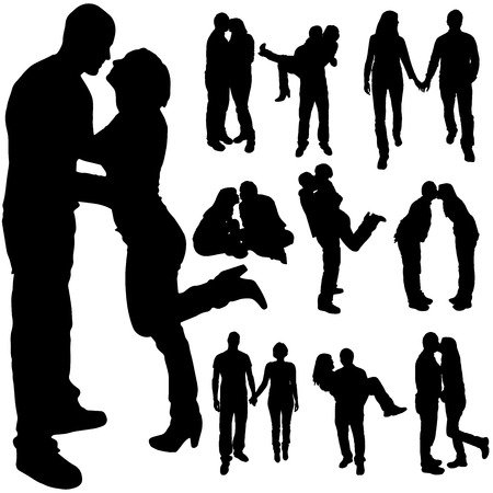 group hug: Vector silhouette of the couple on a white background. Illustration