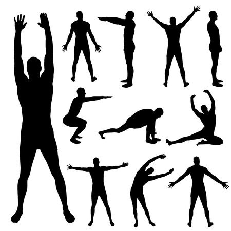 Vector silhouette of a man who is stretching on a white background.