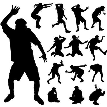 madman: Vector silhouette of a man with dreadlocks is dancing.