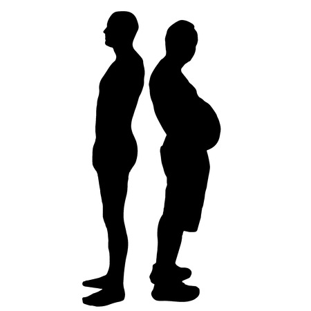 thin man: Vector silhouette of men on a white background. Illustration