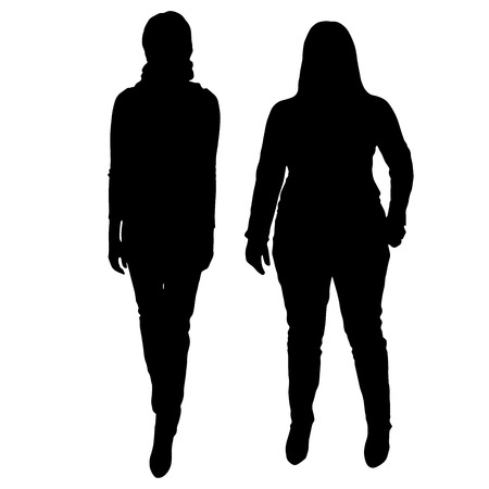 females: Vector silhouette of women on a white background. Illustration