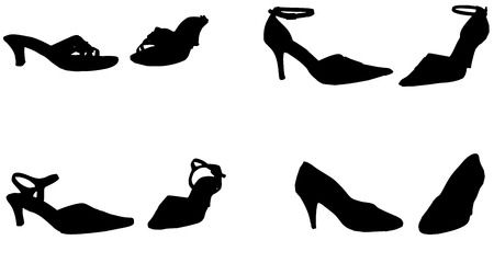 Vector silhouette of women's shoes on a white background.