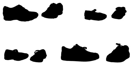 plimsolls: Vector silhouette of womens shoes on a white background.