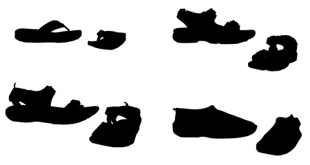 Vector silhouette of shoes on a white background. Vector