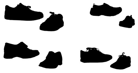 plimsolls: Vector silhouette of shoes on a white background. Illustration