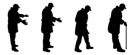 older couple: vector silhouette old man in different situations Illustration